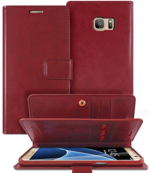 Stylish Wine Galaxy S6 Edge Genuine Mercury Mansoor Diary Wallet Case - 1