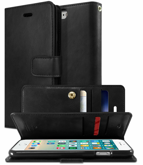 Black Genuine Mercury Mansoor Diary Wallet Case For iPhone 7 / 8 - 1