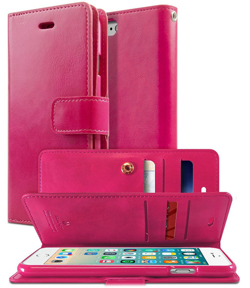 Hot Pink Mercury Mansoor Diary Wallet Case For iPhone 7 Plus / 8 Plus - 1