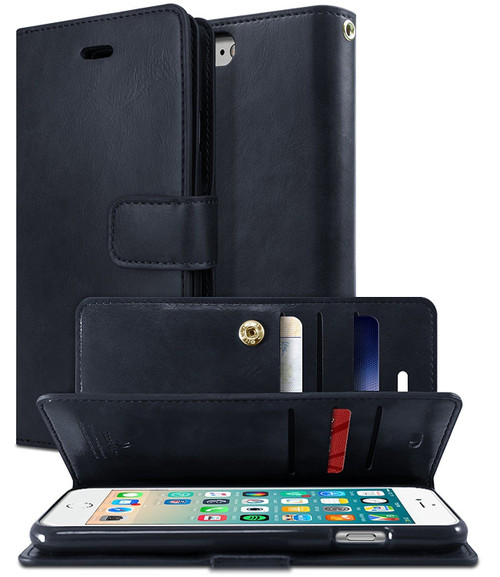 iPhone 7 Plus / 8 Plus Genuine Mercury Mansoor Diary Wallet Case - Navy - 1