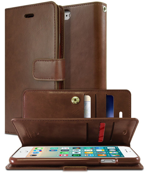iPhone XS MAX Genuine Mercury Mansoor Diary Wallet Case - Brown - 1