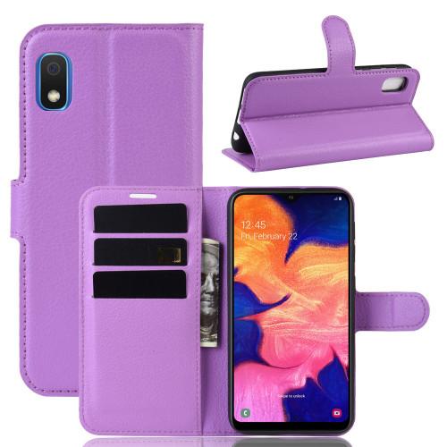 Purple Samsung Galaxy A20 / A30 Premium Litchi Wallet Case Cover