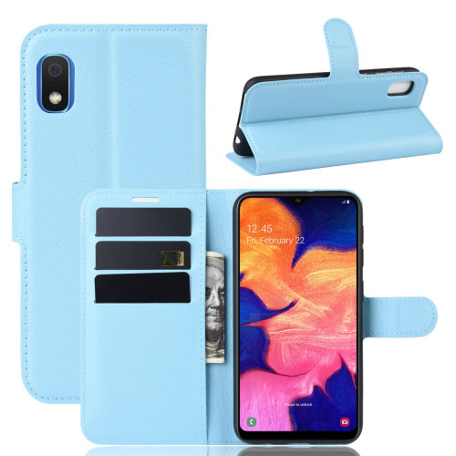 Aqua Litchi Textured Wallet Card Case For Samsung Galaxy A10