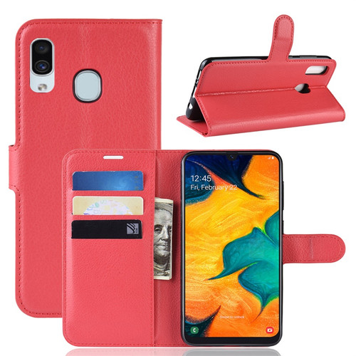 Red Samsung Galaxy A10 Litchi Textured Wallet Credit Card Case