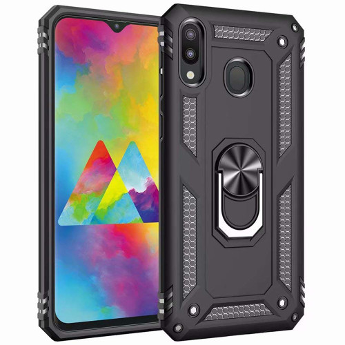 Black Samsung Galaxy A20 / A30 Hybrid Armor Metal Ring Stand Case - 1