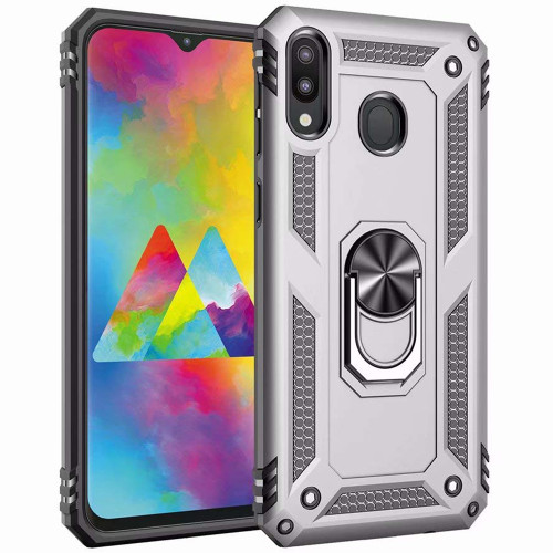 Silver Shock Proof Hybrid Metal Ring Stand Case For Galaxy A20 / A30 - 1
