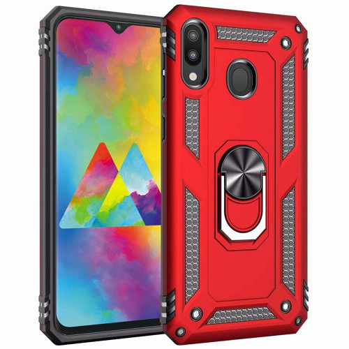Red Galaxy A20 / A30 Heavy Duty 360 Rotating Metal Stand Case Cover - 1