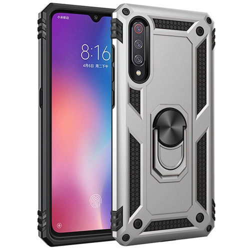 Silver Shock Proof Slim Armor Metal Ring Stand Case For Galaxy A50  - 1