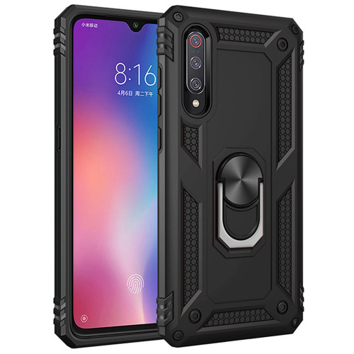 Black Galaxy A70 Slim Shock Proof 360 Rotating Metal Ring Stand Case - 1