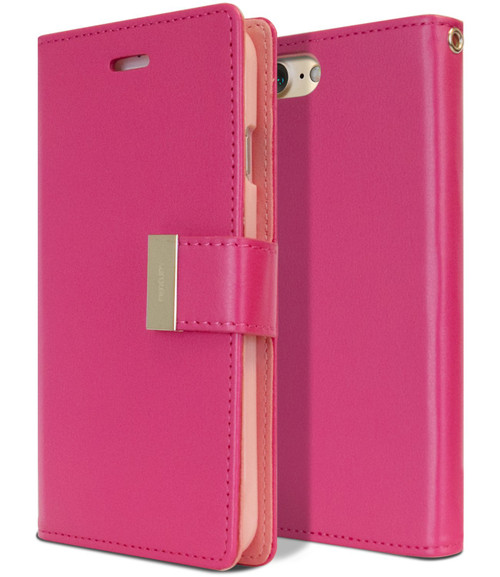 Hot Pink Genuine Mercury Rich Diary Wallet Card Case For iPhone 6 / 6S - 1