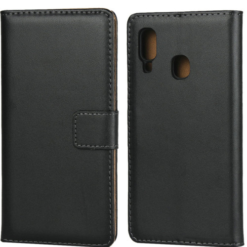 Samsung Galaxy A20 Genuine Leather Business Wallet Smart Case - Black - 1