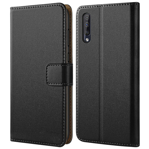 Samsung Galaxy A50 Genuine Leather Business Wallet Smart Case - Black - 1