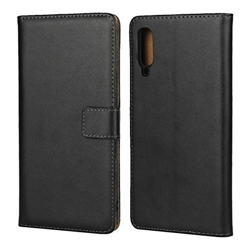 Samsung Galaxy A70 Genuine Leather Business Wallet Smart Case - Black - 1