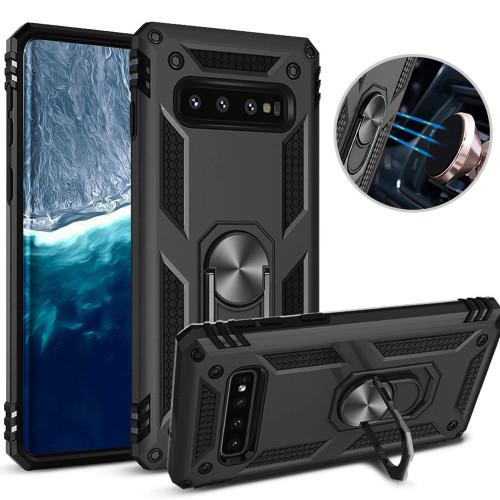 Black Galaxy S10 Slim Shock Proof 360 Rotating Metal Ring Stand Case - 1