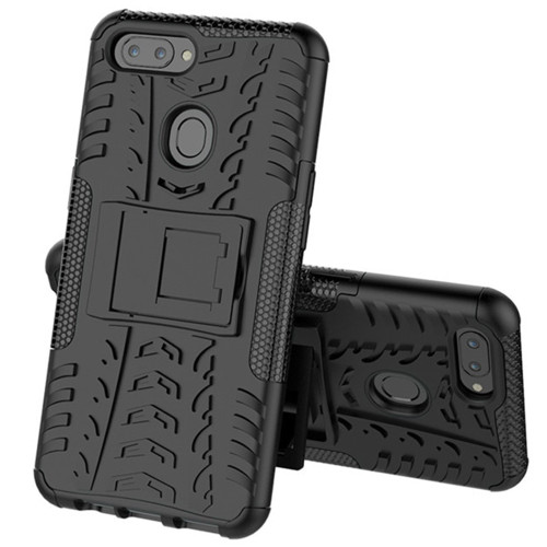 Oppo AX5 / A3S Heavy Duty Defender Hybrid Kickstand Case - Black