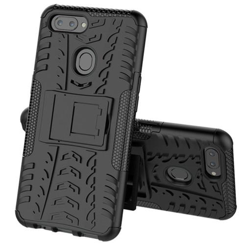 Oppo AX5 / A3S Heavy Duty Defender Hybrid Kickstand Case - Black