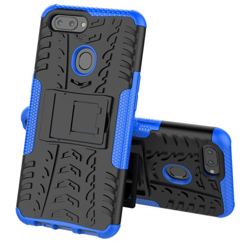 Blue Shock Proof Hybrid Kickstand Defender Case For Oppo AX5 / A3S