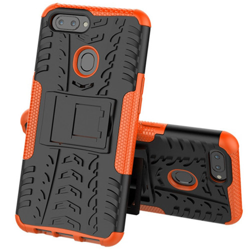 Orange Shock Proof Hybrid Kickstand Tradies Case For Oppo AX5 / A3S