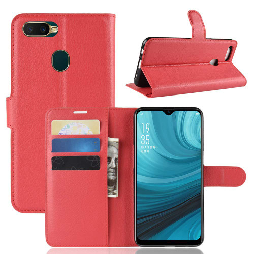 Oppo A3S / AX5 Litchi Smart Textured Wallet Case - Red - 1