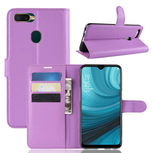 Oppo A3S / AX5 Litchi Stylish Textured Wallet Case - Purple - 1