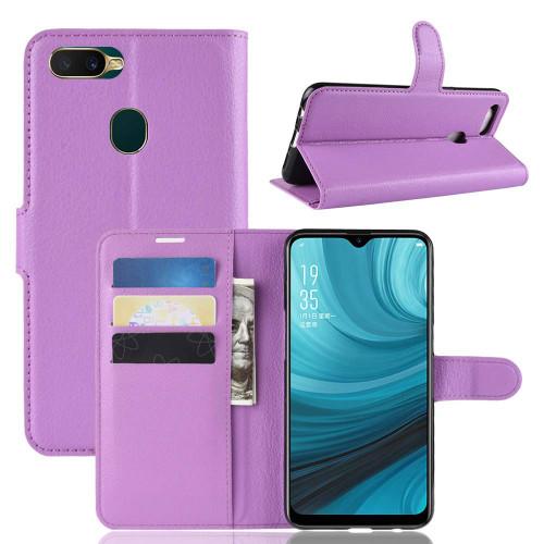 Oppo A3S / AX5 Litchi Stylish Textured Wallet Case - Purple - 1
