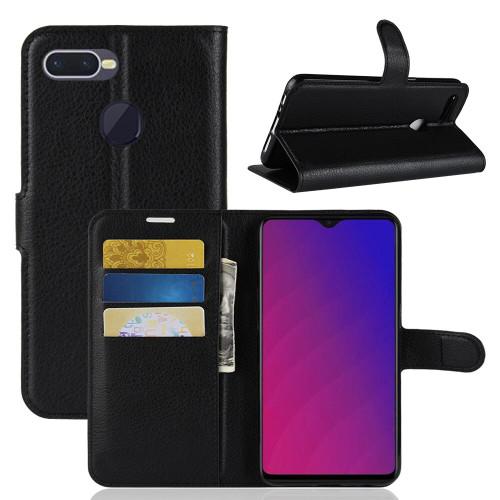 Black Premium Business Litchi Textured Wallet Case For Oppo AX7 - 1