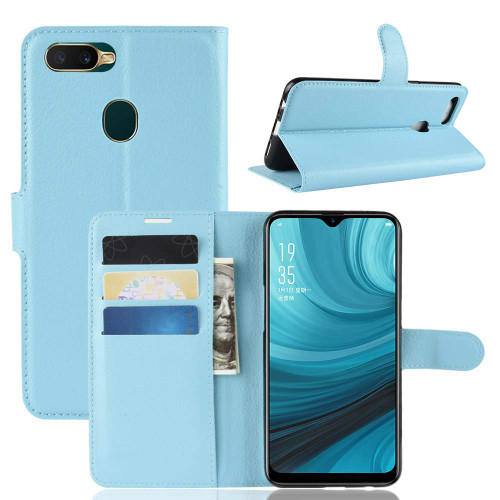 Oppo AX7 Litchi Quality Modern Textured Wallet Case - Aqua - 1