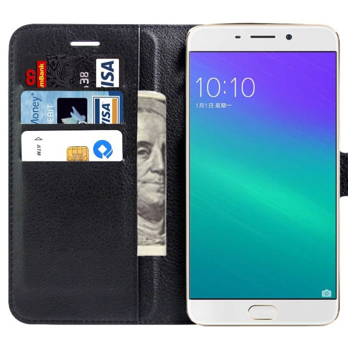 Black Premium Litchi Wallet Textured Wallet Case For Oppo R9 Plus - 1