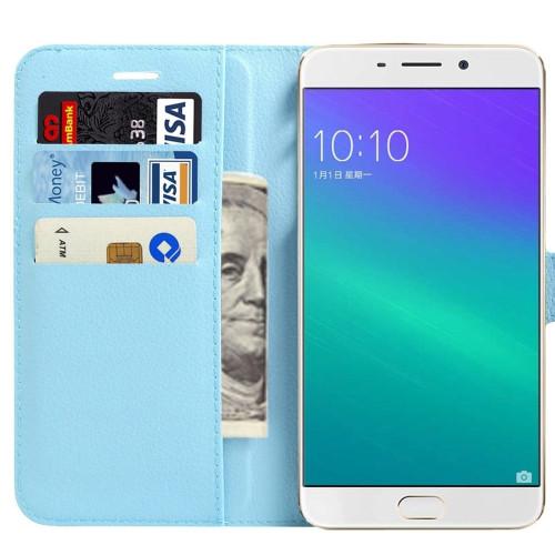 Oppo R9 Plus Litchi Wallet Quality Textured Wallet Case - Aqua - 1