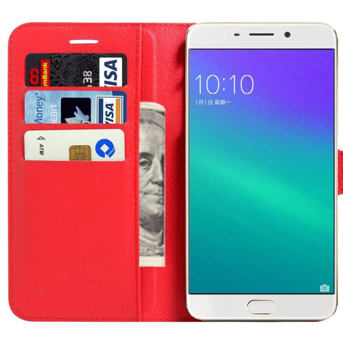 Red Smart Litchi Wallet Textured Wallet Case For Oppo R9 Plus - 1