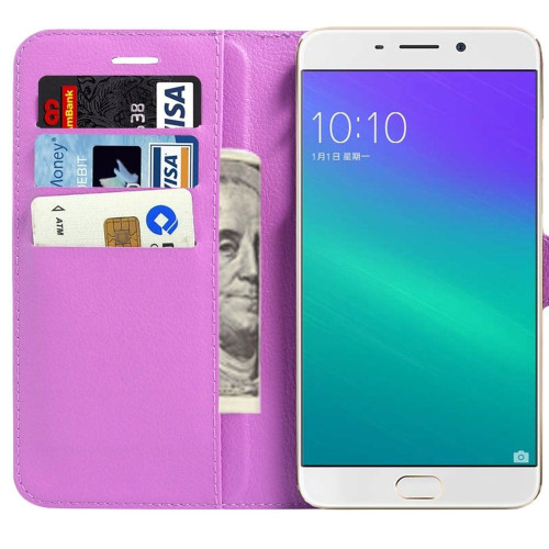 Oppo R9 Plus Litchi Wallet Stylish Textured Wallet Case - Purple - 1
