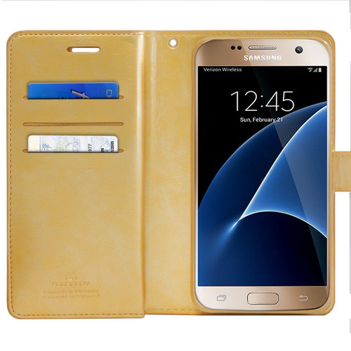 Gold Galaxy J5 Pro Genuine Mercury Mansoor Diary Quality Wallet Case - 1