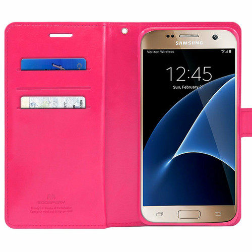 Hot Pink Galaxy J5 Pro Genuine Mercury Mansoor Diary Wallet Case - 1
