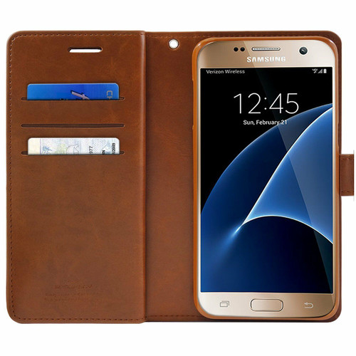 Brown Galaxy J5 Pro Genuine Mercury Mansoor Diary Wallet Case - 1