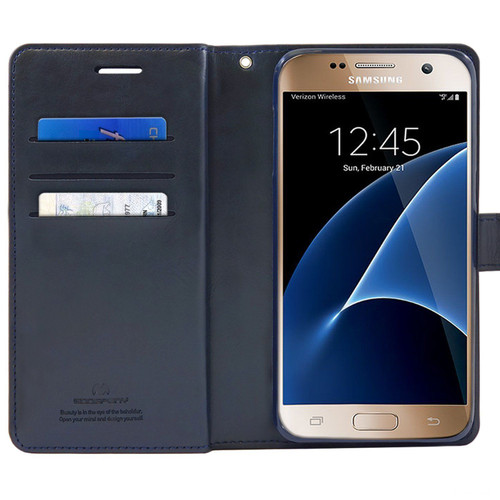 Navy Galaxy J5 Pro Genuine Mercury Mansoor Diary Wallet Case - 1