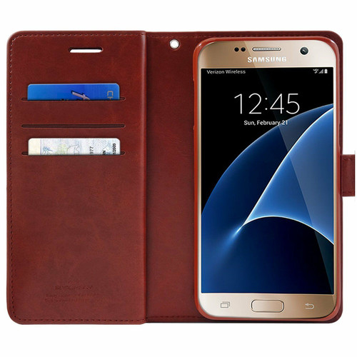 Wine Galaxy J5 Pro Genuine Mercury Mansoor Diary Wallet Case - 1