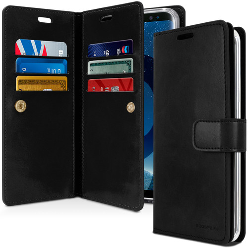 Black Galaxy A8 (2018) Genuine Mercury Mansoor Diary Wallet Case - 1