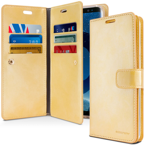 Gold Galaxy A8 (2018) Genuine Mercury Mansoor Diary Wallet Case - 1