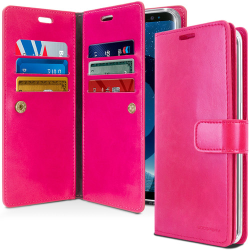 Hot Pink Galaxy A8 (2018) Genuine Mercury Mansoor Diary Wallet Case - 1
