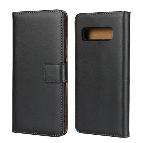 Black Genuine Leather Business Wallet Case  For Galaxy S10 5G - 1