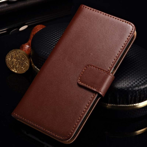 Brown Genuine Leather Wallet Case For Samsung Galaxy Note 5 - 1