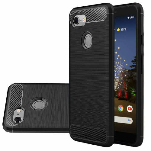 Black Google Pixel 3a Flexible Shock Proof Carbon Fibre Case - 1