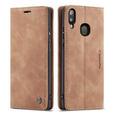 Brown CaseMe Slim Magnetic Elegant Wallet Case For Galaxy A20 / A30 - 1
