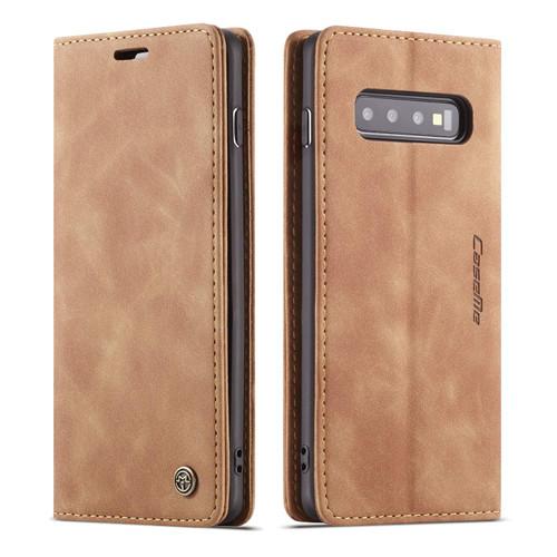 Brown CaseMe Slim 2 Card Slot Elegant Wallet Case For Galaxy S10 + Plus - 1