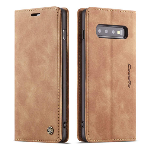 Brown CaseMe Soft Matte Business Wallet Case For Galaxy S10e - 1