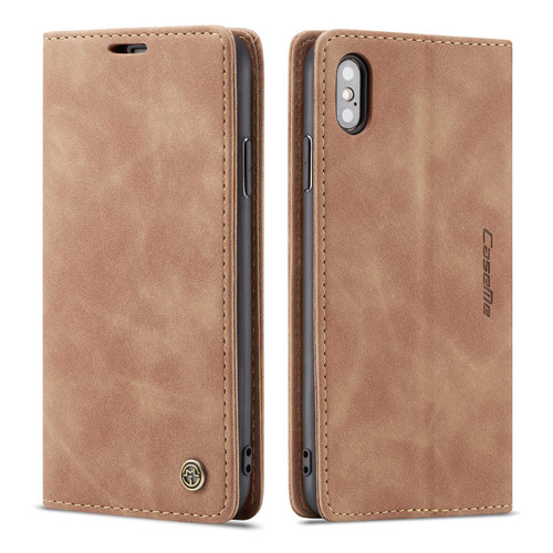 Brown CaseMe Slim 2 Card Slot Classy Wallet Case For iPhone XS - 1