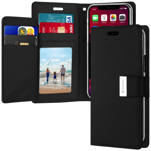 Premium Black iPhone 11 Pro Genuine Mercury Rich Diary Wallet Case - 1