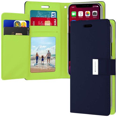 Premium Navy iPhone 11 Genuine Mercury Rich Diary Wallet Case - 1