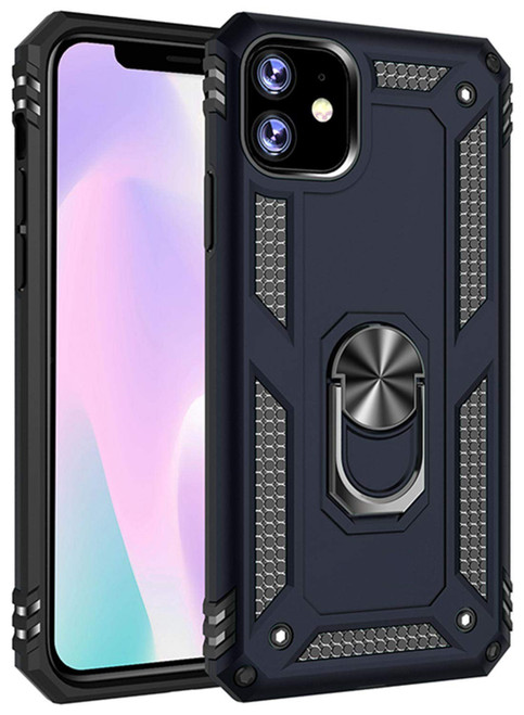 Navy Shock Proof 360 Rotating Metal Ring Stand Case For iPhone 11 - 1