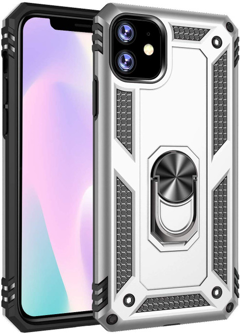 Silver iPhone 11 Slim Armor Shock Proof 360 Rotating Metal Stand Case - 1